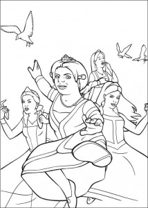 coloring page Fiona and the princesses are fighting