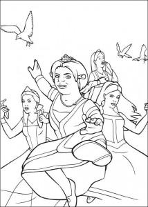 kleurplaat Fiona en de prinsessen vechten