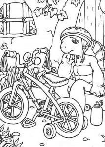 kleurplaat Franklin fietst