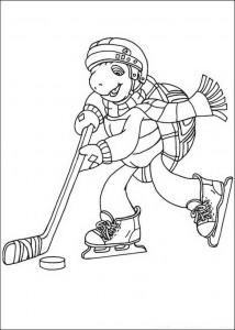 kleurplaat Franklin ijshockeyt