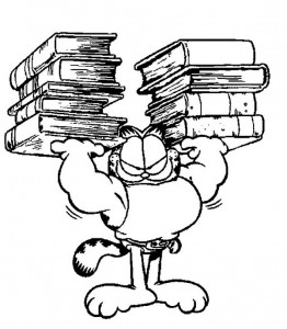 coloring page Garfield with his textbooks