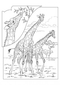 kleurplaat Giraffe (1)