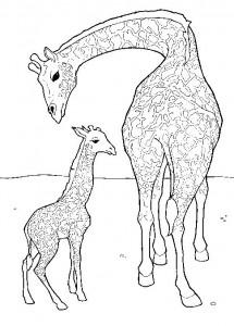 kleurplaat Giraffe met jong (1)