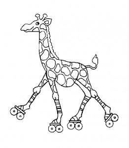 kleurplaat Giraffe op rolschaatsen