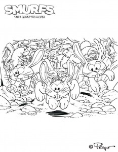 coloring page Glow bunnies