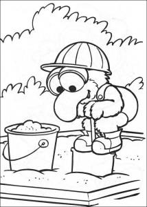 Målarbild Gonzo i sandlådan