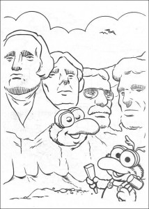 Gonzo coloring page between presidents