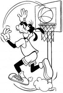 målarbok Goofy basket (1)