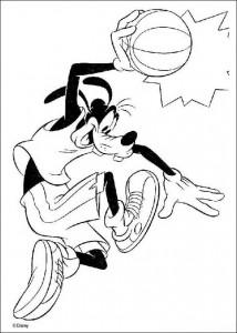 kleurplaat Goofy basketbalt (2)