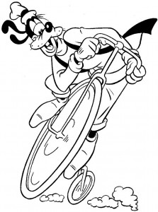 coloring page Goofy cycles on old bicycle