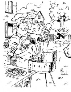 coloring page Never throw spirit on a burning bbq