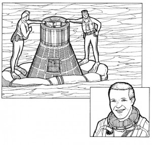 coloring page Gordon Cooper, last man Mercury rockets, 1963