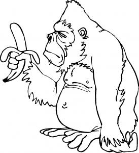 kleurplaat Gorilla eet een banaan