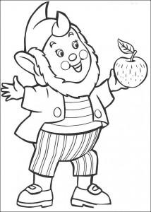 kleurplaat Groot-Oor eet appel