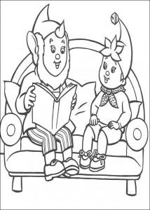 kleurplaat Groot-Oor leest voor aan Noddy