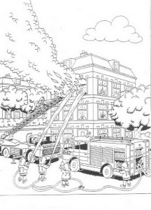 coloring page Great fire in the house