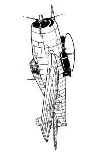 kleurplaat Grunman F6F 3 Hellcat 1944