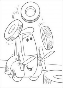 coloring page Guido juggles tires