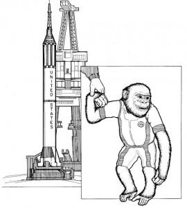 kleurplaat Ham, de ruimteaap, Amerika, 1961