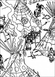 coloring page The Indian village