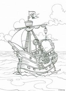 kleurplaat Het piratenschip