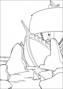coloring page The ship is walking on the rocks