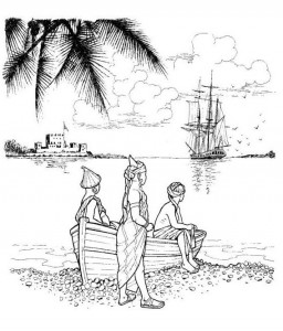 coloring page The slave ship is leaving for America