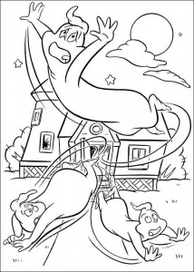 coloring page The trio flee the house