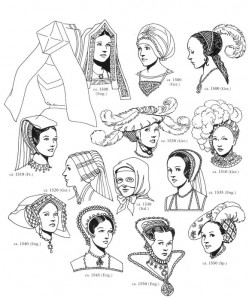 coloring page Hats and hair fashion from 1500