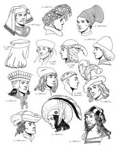 målarbok Mössor för män, 1400