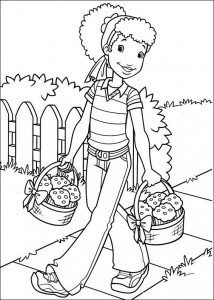 coloring page Hollie has baked muffins