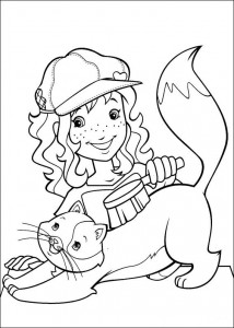 coloring page Hollie combs the cat