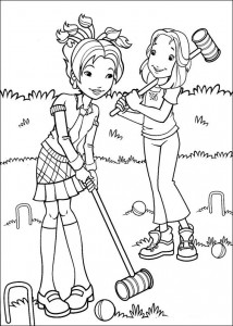 coloring page Hollie plays croquet