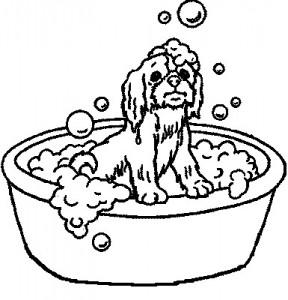 målarbok Hund i badet (2)