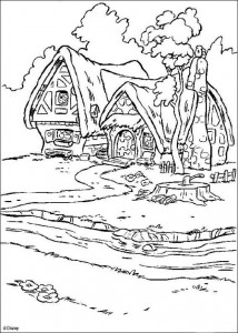 coloring page House of the dwarfs