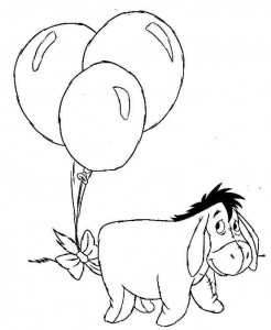 coloring page Eeyore with balloons