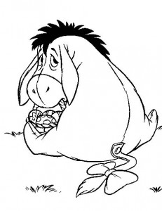 coloring page Eeyore with Easter eggs