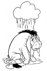 coloring page Eeyore with rain shower