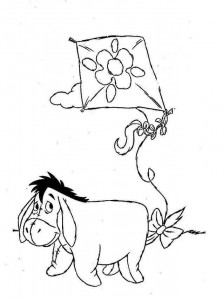 coloring page Eeyore with kite