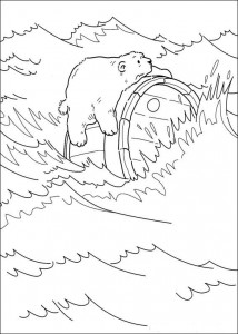 kleurplaat IJsbeer op ton (1)