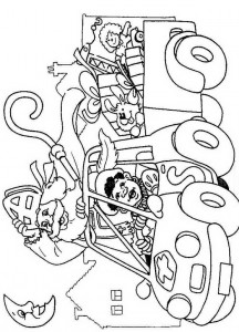 coloring page In the car (1)