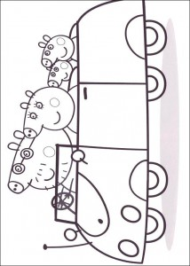 coloring page In the car