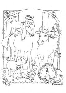 kleurplaat In de stal