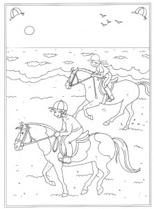 coloring page Galloping on the beach