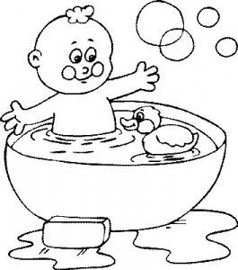 coloring page In the bath (4)