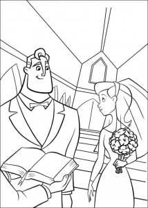 coloring page Incredibles getting married