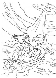 coloring page Incredibles swimming
