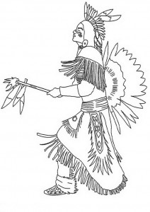 kleurplaat Indiaanse krijger