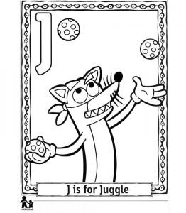 målarbok J Juggle = Jonglering