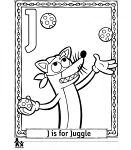 coloring page J Sjongle = Sjonglering